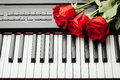 Piano keys and red roses Royalty Free Stock Photo