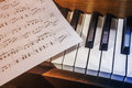 Piano keys and sheet music Royalty Free Stock Photo