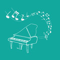 Piano melody vector illustration of background simple white on green Royalty Free Stock Image
