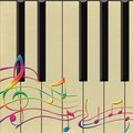 Piano and notes vector Royalty Free Stock Photo