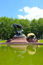Piano recital in warsaw lazienki park concert by a lake with people gathered around listening to the music Royalty Free Stock Photos