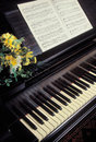 Piano with sheet music Stock Images