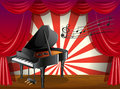 A piano at the stage with musical notes illustration of Royalty Free Stock Images