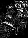 Piano symbolic image of the on a black background Stock Photos
