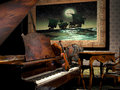 Piano and Violin in room Royalty Free Stock Photo