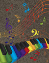 Piano wavy border with d colorful keys and music note abstract keyboard rainbow colors musical notes textured background Royalty Free Stock Images
