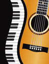 Piano wavy border with guitar illustration keyboards acoustic closeup background Royalty Free Stock Image