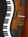 Piano wavy border with violin illustration keyboards closeup background Stock Photo
