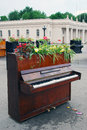 Pianos decorated by flowers the entrance to the gorky park it s decoration on the occasion of international chereshnevy les Stock Photography