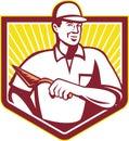 Piastrellista plasterer mason masonry worker retro Fotografia Stock Libera da Diritti