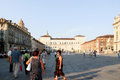 Piazza castello in turin italy italia torino on a summers day with tourists present Stock Images