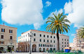 Piazza d italia palm in sassari on a cloudy day Stock Photos