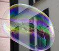 Piazza de ferrari in genova reflected in a soap balloon Royalty Free Stock Photography