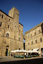 Piazza dei priori in volterra tuscany italy medieval the main square of the historic old town of Royalty Free Stock Images