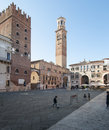 The piazza dei signori verona veneto italy europe view of with children playing soccer Royalty Free Stock Images