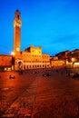 Piazza del Campo with Palazzo Pubblico, Siena Stock Photos