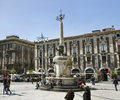 Piazza del duomo in catania with elephant statue italy april symbol of the city a c sicily italy on april Stock Image