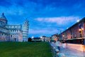 Piazza del duomo pisa sunset in and leaning tower Stock Photography