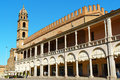 Piazza del popolo in faenza italy september downtown the capital of ceramics emilia romagna palazzo podesta with Royalty Free Stock Images