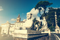 Piazza del popolo is a large urban square in rome italy Stock Image