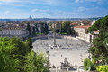 Piazza del popolo peoples square named after the church of santa maria in rome italy Stock Photos