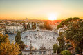 The Piazza del Popolo, Rome at sunset Royalty Free Stock Photo