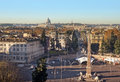 Piazza del popolo and the street cola di rienzo top view of leading to vatican rome italy Royalty Free Stock Photography