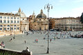Piazza del popolo view on in rome Royalty Free Stock Images
