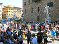Piazza della signoria florence with a copy of michelangelo s david statue in front of palazzo vecchio in tuscany italy Royalty Free Stock Images