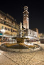 Piazza delle Erbe by Night in Verona Italy Stock Photo