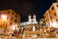 Piazza di spagna night life and trinita dei monti fountain close Stock Photo
