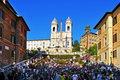 Piazza di spagna in rome italy april a crowd the spanish steps the stairway of trinita dei montei on april Stock Images