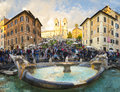 Piazza di spagna rome oct the spanish steps seen from with fountain fontana della barcaccia circa on october the spanish Royalty Free Stock Photography