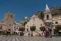 Piazza IX April in Taormina in Sicily, Italy Royalty Free Stock Photo