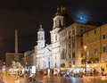 Piazza navona and fontana dei fiumi by berniny and egypts obelisk and santa agnese in agone church rome italy Stock Photo