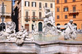 Piazza Navona, Neptune Fountain in Rome Stock Image