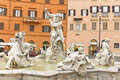 Piazza navona rome neptune fountain in italy Stock Image