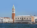 Piazza san marco campanile and doge palace seen from the canal venice italy with Stock Image