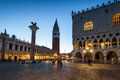 Piazza San Marco at night in Venice Royalty Free Stock Photo