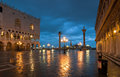 Piazza san marco at night in winter with palazzo ducale s theodor and s columns Stock Photo