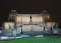 Piazza venezia in rome night scene italy Stock Photography