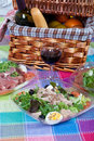 Pic-nic basket and salads Royalty Free Stock Photography