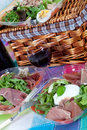 Pic-nic basket and salads Royalty Free Stock Images