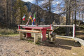Pic nic table a in the alps Royalty Free Stock Photo