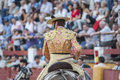 Picador bullfighter lancer whose job it is to weaken bull s jaen spain september neck muscles in the bullring for jaen spain Royalty Free Stock Photography