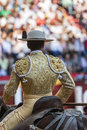 Picador bullfighter lancer whose job it is to weaken bull s nec jaen spain october neck muscles in the bullring for jaen spain Stock Photography