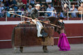 Picador bullfighter lancer whose job it is to weaken bull s neck muscles spain Stock Photography