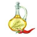 Picant oil. Hand drawn watercolor