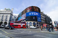 Piccadilly circus and famous advertisements in london england Royalty Free Stock Photos