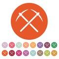 The pick icon. Pickax symbol. Flat